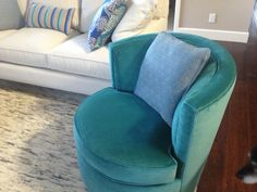 Otis Teal Swivel Chair Also Room And Board With Another Custom Pillow Love