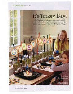 Cute table decor for Thanksgiving. our maybe put outside lining the pathway???