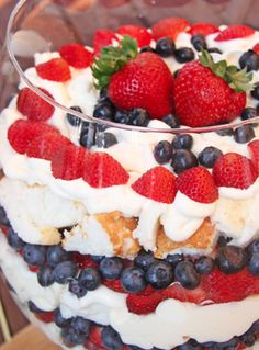 This Skinny Mom, Skinny Red, White, and Blue Trifle is absolutely stunning and so Patriotic! Perfect and healthy for July 4th holiday!