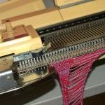 How to make fringe on knitting machine.  Bring 9 needles forward, leave a gap, add another needle.