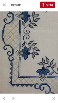 Beautiful blue cross stitch embroidered tablecloth by IngsvintageThis Pin was discovered by Μον Cross Stitch Geometric, Easy Cross Stitch Patterns, Cross Stitch Borders, Simple Cross Stitch, Cross Stitch Rose, Cross Stitch Flowers, Cross Stitch Designs, Cross Stitching, Cross Stitch Embroidery