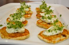 Stacey Chan's Sweetcorn Fritters with Herbed Cream Cheese and Micro-herbs from the NoMU SMEG Master Class