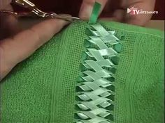 In this video, I have made 4 different types of leaves out of Satin Ribbon. Satin Ribbon Flowers, Ribbon Art, Fabric Flowers, Hand Embroidery Stitches, Silk Ribbon Embroidery, Embroidery Designs, Simple Flower Design, Crochet Edging Patterns, Pet Fashion