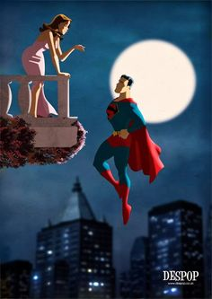 Superman courting Lois. Art by Des Taylor.