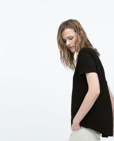 T-SHIRT WITH ASYMMETRIC HEM-View all-T-shirts-WOMAN | ZARA United States
