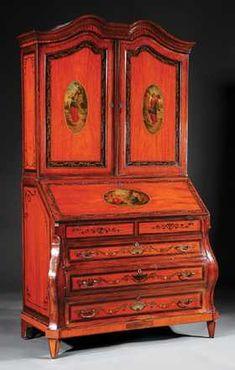 Satinwood, Inlaid, Paint-Decorated Secretary Desk