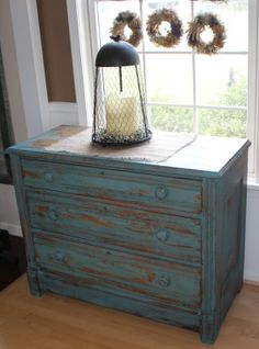 Beautiful painted dresser with Miss Mustard Seed milk paint Kitchen scale