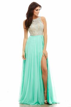 2015 Open Back Prom Dresses A-Line Beaded Bodice With Slit Chiffon