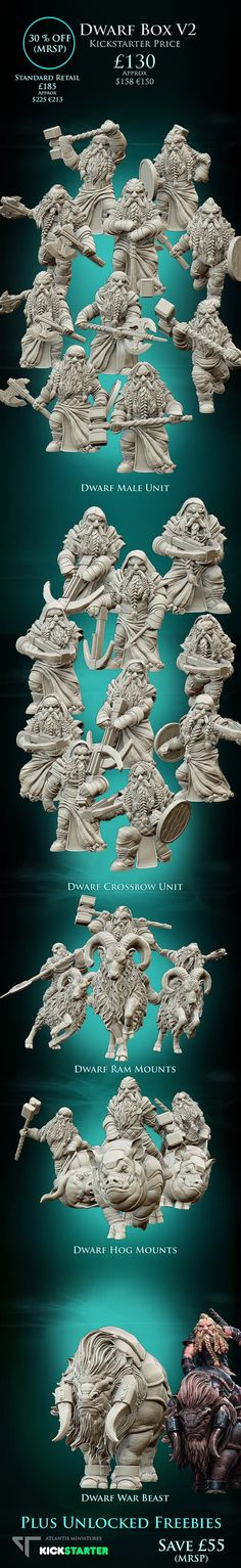 A collection of highly detailed Resin Dwarf Miniatures in 28mm scale!