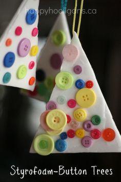 Styrofoam Button Ornaments - happy hooligans