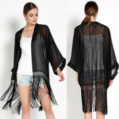Online Shop Black Tassels Fringed Chiffon Kimono Cardigan Jacket Tops Women's Casual Loose Coat Maxi Franja XQ774|Aliexpress Mobile