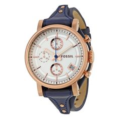 New Fossil Boyfriend Silver Dial Blue Leather Chronograph Ladies Watch ES3838