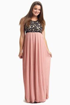 a838aa4f191f Pale Pink Pleated Chiffon Lace Top Maternity Maxi Dress | Unique ...