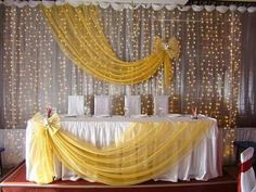 Source TourGo fancy diy chiffon wedding backdrops decoration with starlit table . - Source TourGo fancy diy chiffon wedding backdrops decoration with starlit table fabric for event on - Decoration Evenementielle, Backdrop Decorations, Birthday Decorations, Wedding Decorations, Banquet Decorations, Backdrop Ideas, Head Table Wedding, Backdrops For Parties, Wedding Backdrops