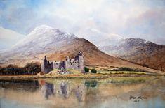 Kilchurn Castle - After Geoff Kersey Watercolor Landscape, Watercolor Paintings, Art Projects, Arch, Castle, Mountains, Artist, Artwork, Travel