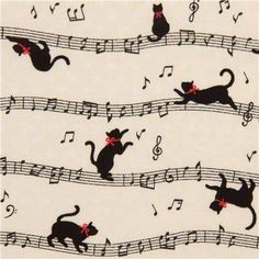 Musical Score Cats, Art - Animal Doodles, Illustrations, Clip Art, Vectors, Embroidery, Cross Stitch, Tattoos