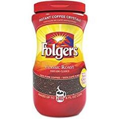 Folgers Classic Roast Instant Coffee Crystals - 16 Oz (Pack of Makes up to x, 6 fl. Roasted in New Orleans, LouisianaJust add water, stir and enjoy for a quick instant coffee It's the taste you love wi Folgers Coffee, Coffee Creamer, Coffee Maker, Gourmet Recipes, Snack Recipes, Snacks, Tostadas, Gevalia Coffee, Fine Beans