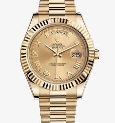Rolex! Day-Date II Oyster, 41 mm, yellow gold From its launch, the Day-Date was recognized immediately as the watch worn by influential people. The Day-Date II, with its majestic 41 mm case, enhances the legacy of the original Day-Date. Available only in platinum or gold, it is the watch for those who pursue innovation and achievement, and value classic elegance.