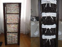 Regał na szpargały do łazienki...kilka desek i koszyki z papierowej wikliny, w sklepie 189 zł, ja mam za parę złotych