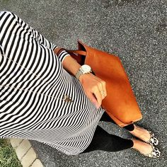 IG @mrscasual <click through to shop this look> Old Navy striped tunic tee.  black zella live in leggings.  sam edelman leopard scalloped flats.  cognac reversible tote bag