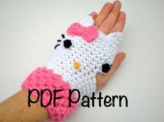 PATTERN:  Kitty Gloves, fingerless mitts, toddler, kid, teen, adult, easy crochet PDF, Permission to Sell. $4.99, via Etsy.