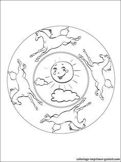 Coloriage mandala chaton sur mio disney coloring pages - Mandala de chevaux ...