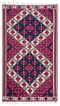 This Vintage Handwoven Kilim Rug has beautiful color combination, pink and navy blue. Design and colors create a great combination, very decorative rug that can fit various places in your home. Turkish Kilim Rugs, Turkish Carpets, Rustic Rugs, Hall Carpet, Cool Rugs, Carpet Runner, Bohemian Rug, Hand Weaving, Van
