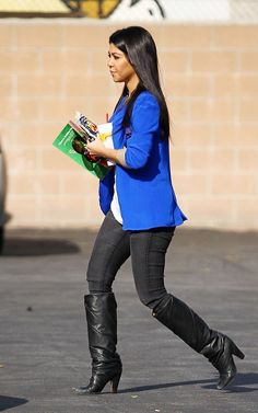 Kourtney Kardashian wearing Bleulab Angle Legging in Nitre Wash Maison Martin Margiela Tall Knee-High Boots MONROW oversized t-shirt Naven Oversized Blazer in Vegas Blue  Out in Sherman Oaks CA November 30 2011