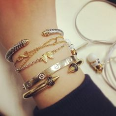 Make it your own. Add personal touches to your #armparty like blogger, Samantha Nie   #dogeared #bracelets #infinity #wishbone #angelwings