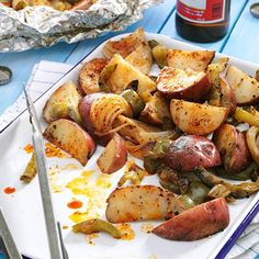 Grilled Potatoes & Peppers Recipe -My husband, Matt, grills this recipe for both breakfast and dinner gatherings. Besides the company, the potatoes are one of the best parts! —Susan Nordin, Warren, Pennsylvania