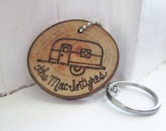 Personalized vintage travel trailer camper wood branch tree slice keychain key chain. Shasta Canned Ham, Airstream, teardrop
