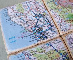 Mod Podge Maps on Coasters!