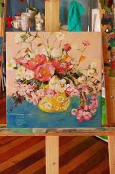Serie de flores en Acrilico - de Carolina Costa Jungjohann - Artista Chilena