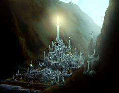 Places in Valinor - Tirion upon Túna: The centre of the city was dominated by Ingwë's tower, Mindon Eldaliéva, whose silver lantern shone far out to sea. Beneath the tower was the house of Finwë, first High King of the Noldor. Here also was the Great Square, where the white tree Galathilion flourished, and later the site of Fëanor's infamous oath. Tirion II, by Anubis1000
