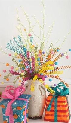 For a Fun Party display try curling pipe cleaners  - gives some peppiness to table decorations!