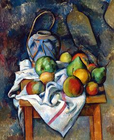 Paul Cézanne - Ginger Jar and Fruit, 1895 at the Barnes Foundation Philadelphia PA Post impressionism Monet, Cezanne Art, Paul Cezanne Paintings, Impressionist Art, Still Life Art, Art Design, Design Color, French Artists, Famous Artists