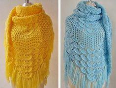 Shawl with crochet pattern