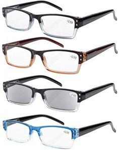 69d5c1dc47ce 4-Pack Spring Hinges Rectangular Reading Glasses Includes Sun Readers +.75   Eyekepper