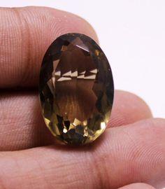 34ct Big Lustrous Natural Oval Cut Smokey Quartz Loose Gemstone For Pendant #krishnagemsnjewels