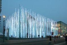 GS Caltex Pavilion, Expo 2012 in Yeosu, South Korea. Interactive Installation, Artistic Installation, Light Installation, Floating Architecture, Facade Architecture, Landscape Architecture, Pavillion Design, Bamboo Light, Exhibition Space