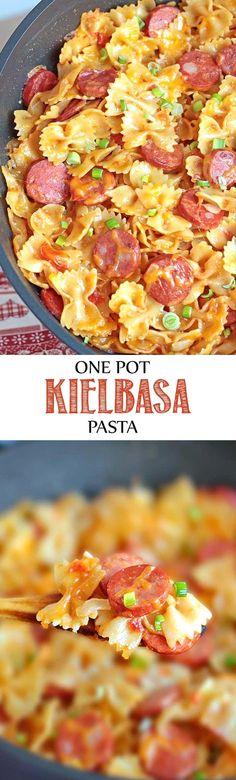 One Pot Kielbasa Pasta - It's a cheesy pasta dish with…