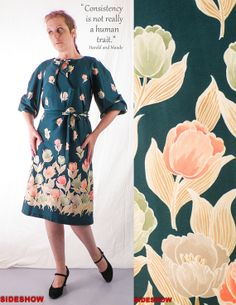 VTG 70's Green Floral Print Casual DRESS with Matching Belt // Size: Medium, $46.00