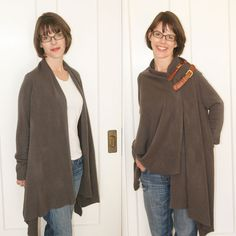 reinvigorate a long sweater/shawl/wrap with asymmetrical belt action!  detailed tutorial