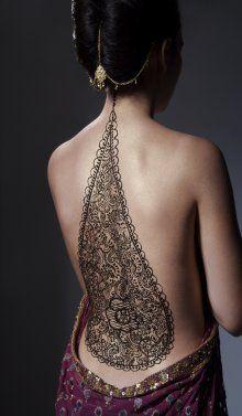 Henna back with sheer sari idea