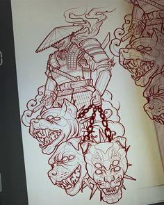 Tattoos - -👺🐶🐶🐶 Artwork by: Tyler Payne Location: Cheltenham, United Kingdom Artist's IG: tattooluckyone irezumicollective Japanese Tattoo Art, Japanese Tattoo Designs, Japanese Sleeve Tattoos, Kunst Tattoos, Neue Tattoos, Body Art Tattoos, Tattoo Design Drawings, Tattoo Sleeve Designs, Tattoo Sketches