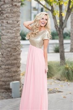 Rose Gold Sequin Modest Bridesmaids , modest dresses, best place to buy modest dresses, champagne bridesmaid dress, bridesmaid dress with sleeve, sequin bridemaids dresses, champagne dress, light pink modest dresses, buy modest dresses