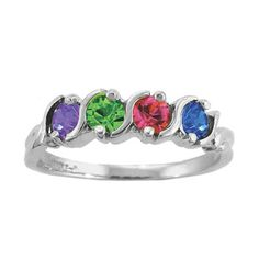 Zales Mothers Birthstone and Diamond Accent Ring in Sterling Silver (6-10 Stones) sYlgLewsyV