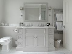 The Vendome Double Vanity Unit from Porter Bathroom is a large statement piece for any master bathroom suite. A handsome vanity unit showcasing the Porter craftsmanship. Baby Bathroom, Neutral Bathroom, Classic Bathroom, Family Bathroom, Bathroom Colors, White Bathroom, Small Bathroom, Undermount Bathroom Sink, House Styles