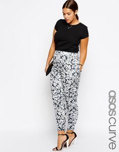ASOS CURVE Exclusive Peg Pant In Baroque Floral Print