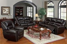Ralph Brown Bonded Leather Wood Living Room Set